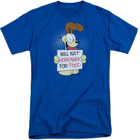 Garfield Will Eat Homework Short Sleeve Adult Tall Royal T-Shirt