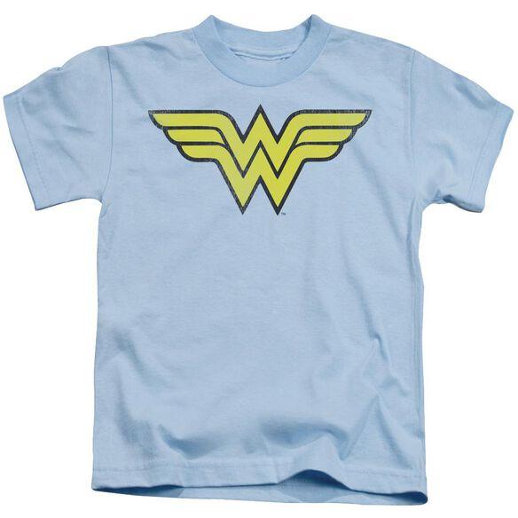 Dc Ww Logo Distressed Short Sleeve Juvenile Light Blue T-Shirt