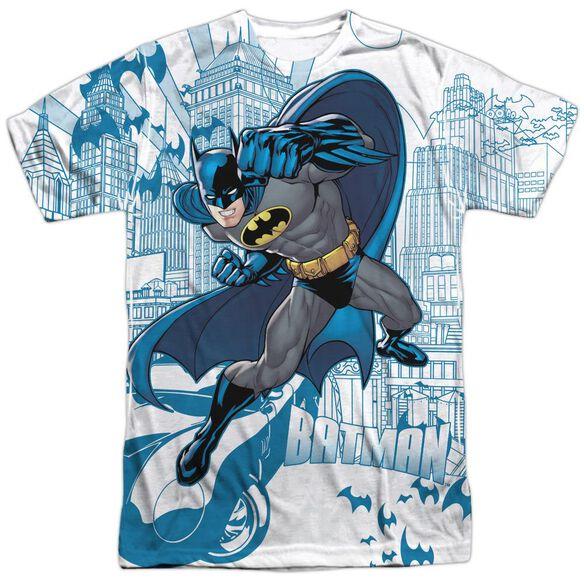 Batman Skyline All Over Short Sleeve Adult 100% Poly Crew T-Shirt