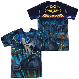 Batman Unlimited Cityscape (Front Back Print) Short Sleeve Adult Poly Crew T-Shirt