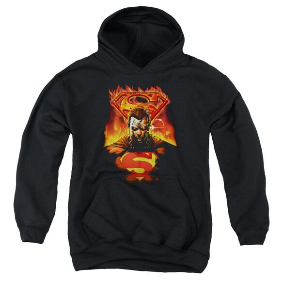 Superman Man On Fire Youth Pull Over Hoodie