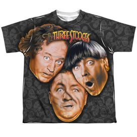 Three Stooges Stooges All Over Short Sleeve Youth Poly Crew T-Shirt