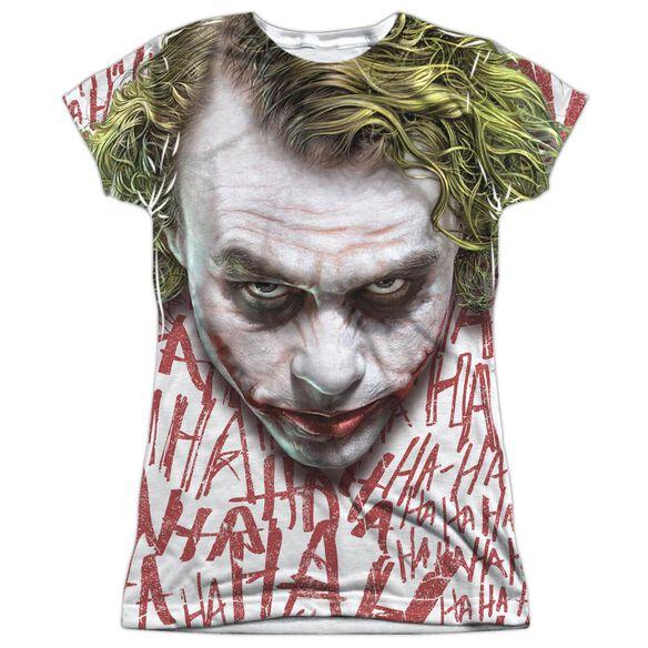Dark Knight Joker Face Short Sleeve Junior Poly Crew T-Shirt