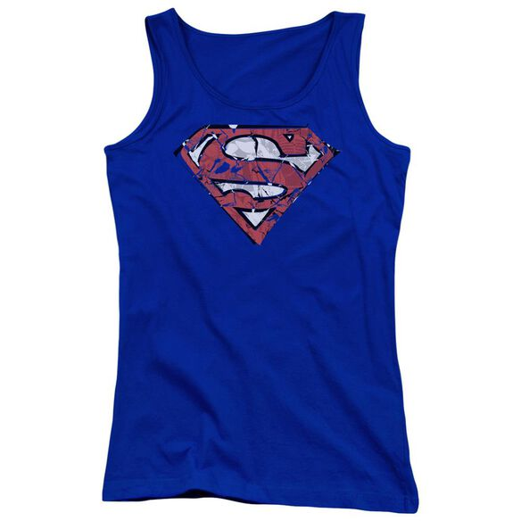 Superman Ripped And Shredded Juniors Tank Top Royal