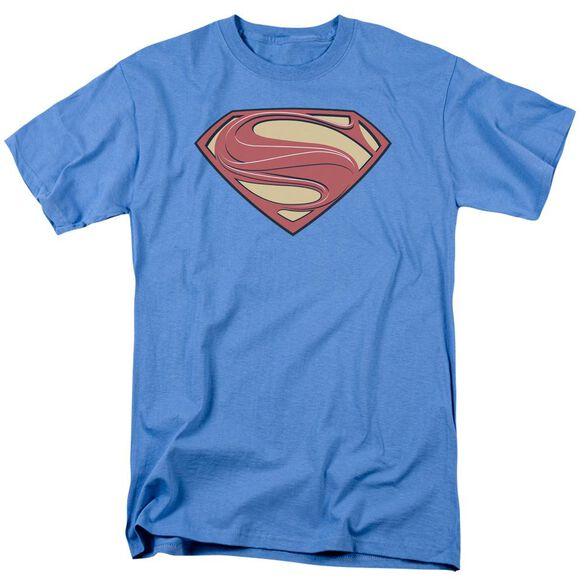 Man Of Steel New Solid Shield Short Sleeve Adult Carolina Blue T-Shirt