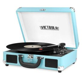 Portable Victrola Suitcase Record Player with Bluetooth and 3 Speed Turntable - Turquoise