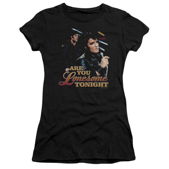 ELVIS PRESLEY ARE YOU LONESOME - S/S JUNIOR SHEER - BLACK T-Shirt