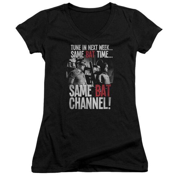Batman Classic Tv Bat Channel Junior V Neck T-Shirt