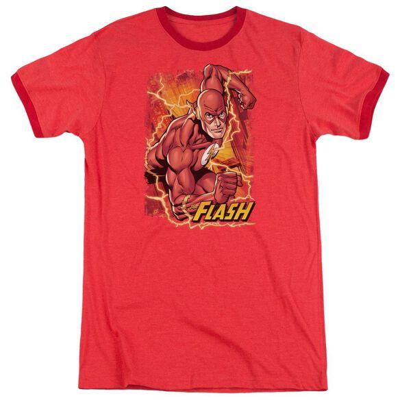 Jla Flash Lightning Adult Heather Ringer Red