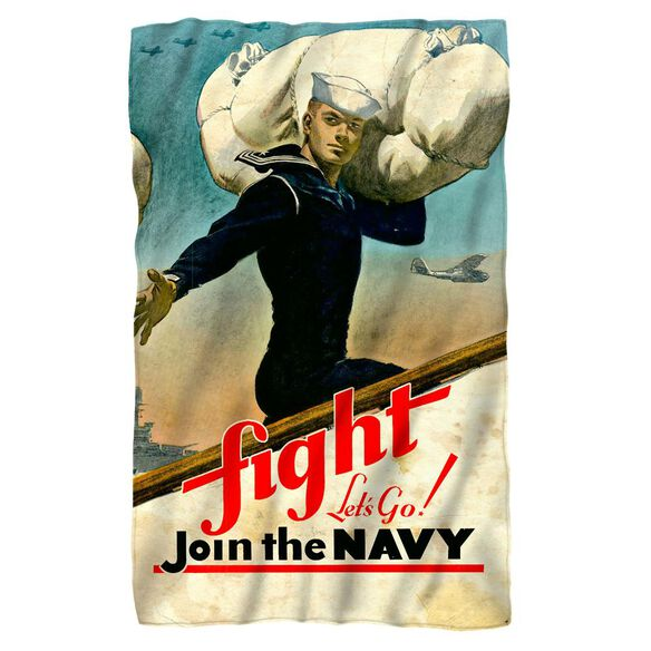 Navy Fight Lets Go Fleece Blanket