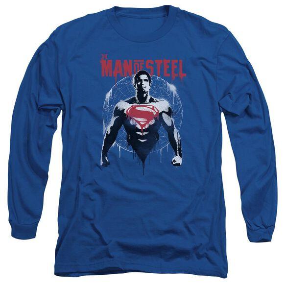 Batman V Superman Super Spray Long Sleeve Adult Royal T-Shirt