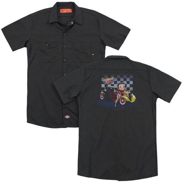 Betty Boop Hot Rod Boop (Back Print) Adult Work Shirt
