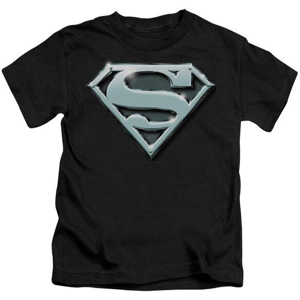 SUPERMAN CHROME SHIELD - S/S JUVENILE 18/1 - BLACK - T-Shirt