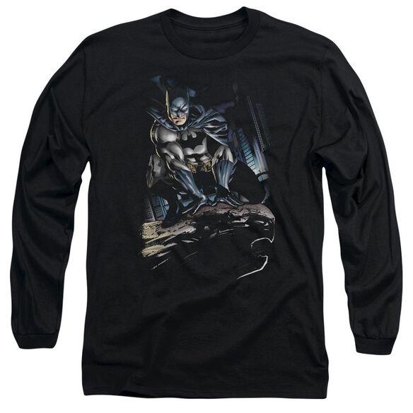 Batman Perched Long Sleeve Adult T-Shirt