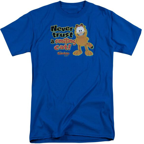 Garfield Smiling Short Sleeve Adult Tall Royal T-Shirt