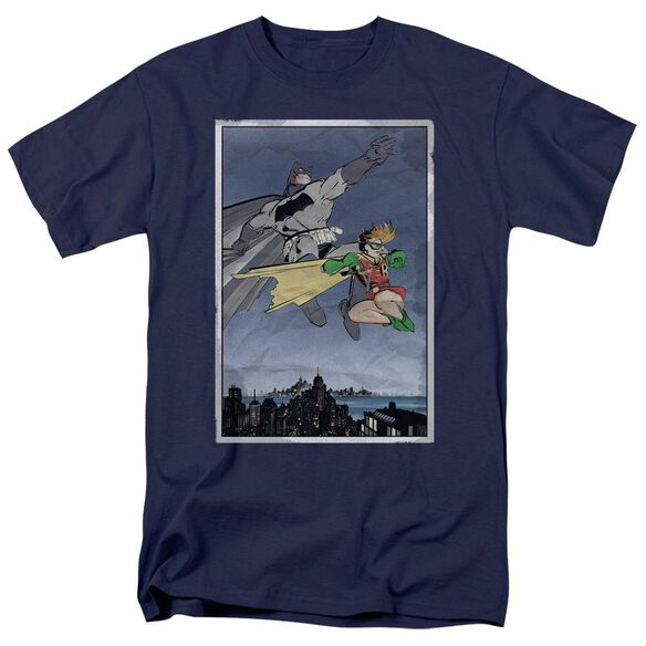 Batman Dkr Duo Short Sleeve Adult Navy T-Shirt