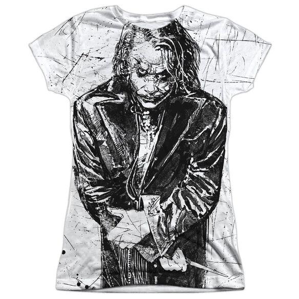 Dark Knight Sketchy Short Sleeve Junior Poly Crew T-Shirt