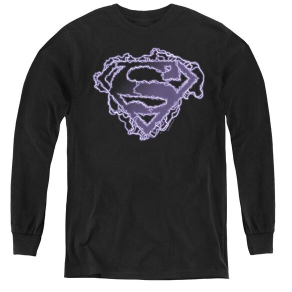 Superman Electric Supes Shield - Youth Long Sleeve Tee - Black