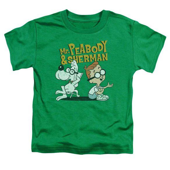 Mr Peabody & Sherman Deep Conversation Short Sleeve Toddler Tee Kelly Green T-Shirt