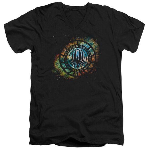 Battlestar Galactica (New) Emblem Knock Out Short Sleeve Adult V Neck T-Shirt