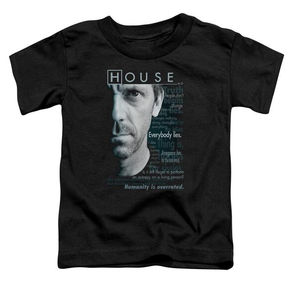 House Houseisms Short Sleeve Toddler Tee Black Sm T-Shirt