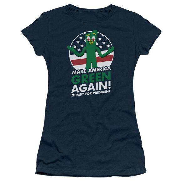 Gumby For President Short Sleeve Junior Sheer T-Shirt