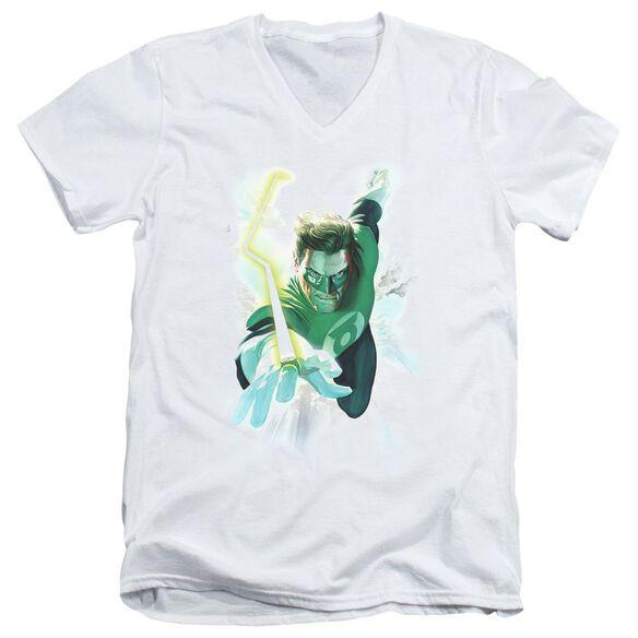 Green Lantern Clouds Short Sleeve Adult V Neck T-Shirt