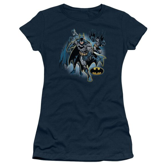Jla Batman Collage Short Sleeve Junior Sheer T-Shirt