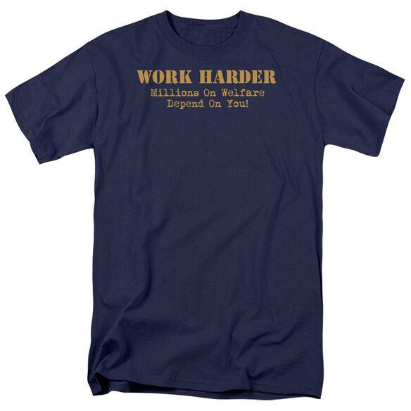 Work Harder Short Sleeve Adult Navy T-Shirt