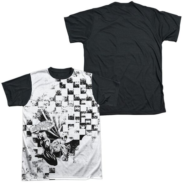 Batman Checkerboard Kick Short Sleeve Adult Front Black Back T-Shirt