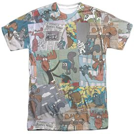 Rocky & Bullwinkle Collage Short Sleeve Adult Poly Crew T-Shirt