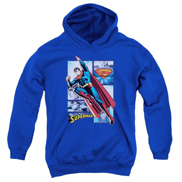 Jla Superman Panels Youth Pull Over Hoodie