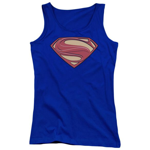 Man Of Steel New Solid Shield Juniors Tank Top Royal