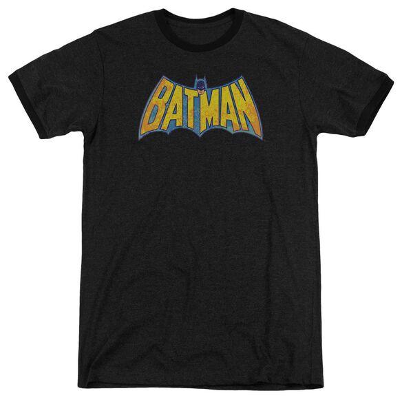 Dco Batman Neon Distress Logo Adult Heather Ringer