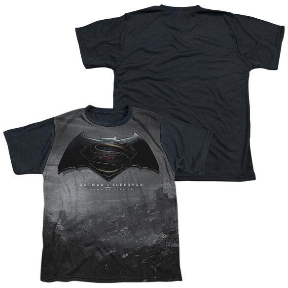 Batman Vs Superman Logo City Short Sleeve Youth Front Black Back T-Shirt