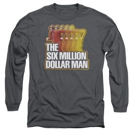 SIX MILLION DOLLAR MAN RUN FAST - L/S ADULT 18/1 - CHARCOAL T-Shirt