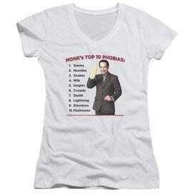 Monk Top 10 Phobias Junior V Neck T-Shirt