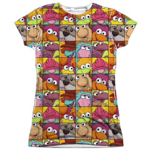 Fraggle Rock Character Squares Short Sleeve Junior Poly Crew T-Shirt