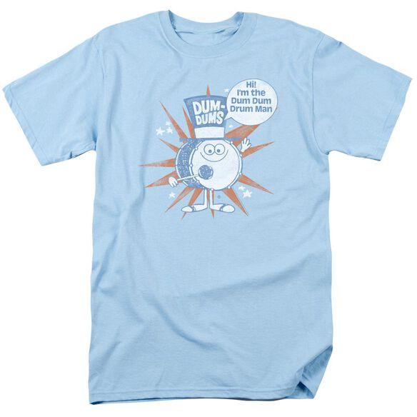 Dum Dums Drum Man Short Sleeve Adult Light Blue T-Shirt