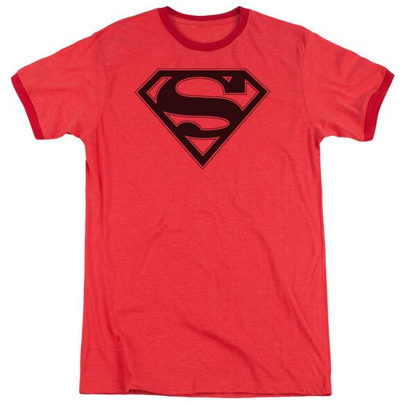 Superman Red & Black Shield Adult Heather Ringer Red