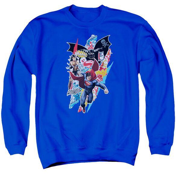 Batman V Superman Ripped Trio Adult Crewneck Sweatshirt Royal