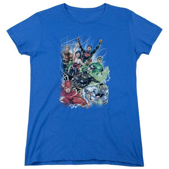 Jla Justice League #1 Short Sleeve Womens Tee Royal T-Shirt