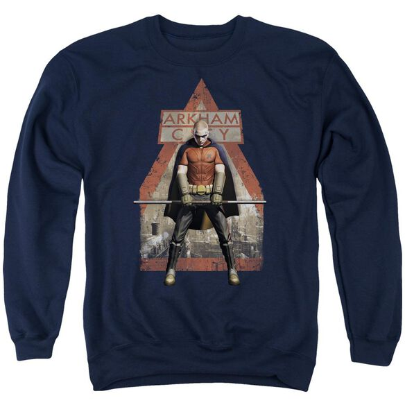 Arkham City Arkham Robin - Adult Crewneck Sweatshirt - Navy