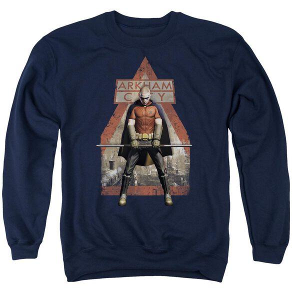 Arkham City Arkham Robin - Adult Crewneck Sweatshirt - Navy