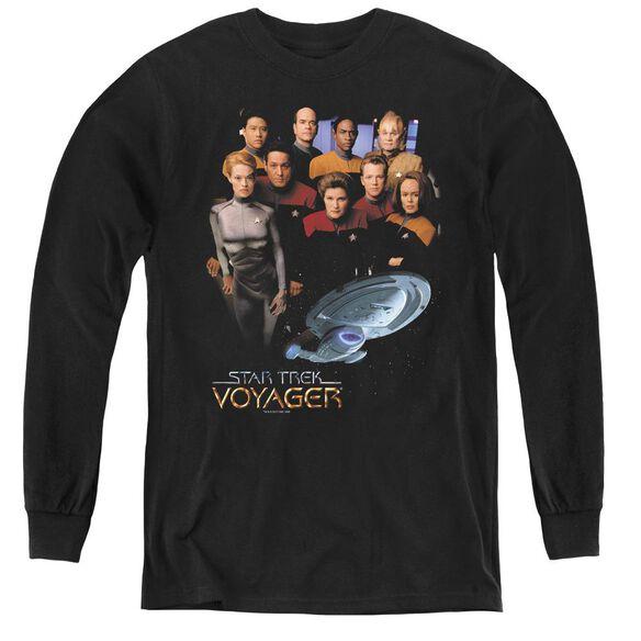 Star Trek Voyager Crew - Youth Long Sleeve Tee - Black