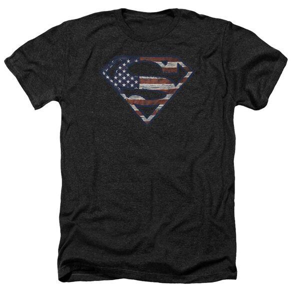 Superman Wartorn Flag Adult Heather