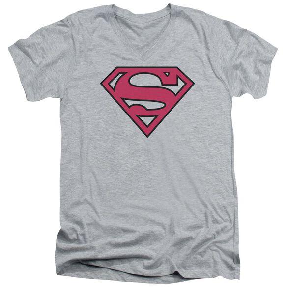 Superman Red & Black Shield Short Sleeve Adult V Neck Athletic T-Shirt