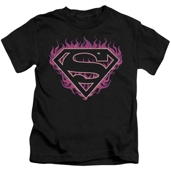 Superman Fuchsia Flames Short Sleeve Juvenile Black T-Shirt