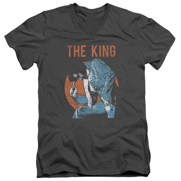 Elvis Mic In Hand Short Sleeve Adult V Neck T-Shirt
