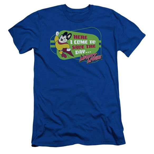 Mighty Mouse Here I Come Short Sleeve Adult Royal T-Shirt